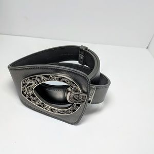 Coldwater Creek Accessories - Coldwater Creek silver leather adjustable belt